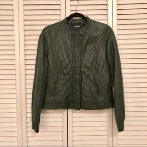 Trina Turk Quilted Leather Bomber Jacket